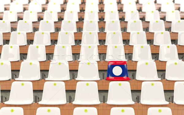 Stadion siedziba banderą Laos rząd biały Zdjęcia stock © MikhailMishchenko