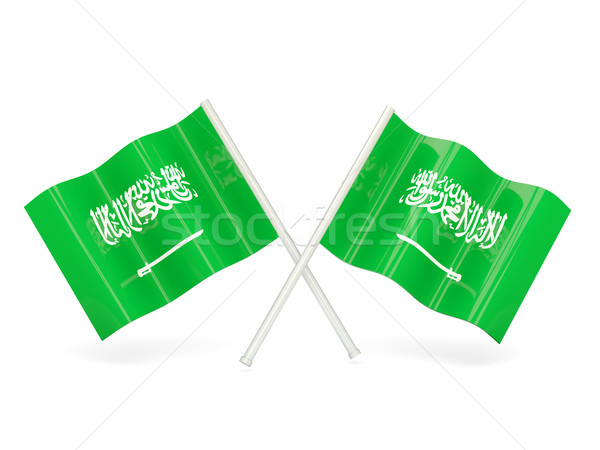 Bandeira Arábia Saudita dois ondulado bandeiras isolado Foto stock © MikhailMishchenko