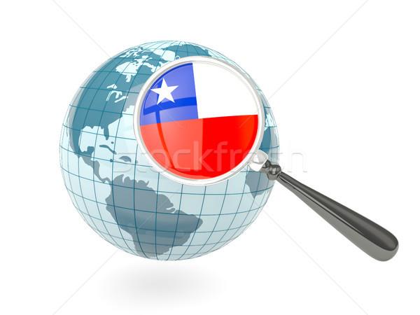 Bayrak Şili mavi dünya yalıtılmış Stok fotoğraf © MikhailMishchenko