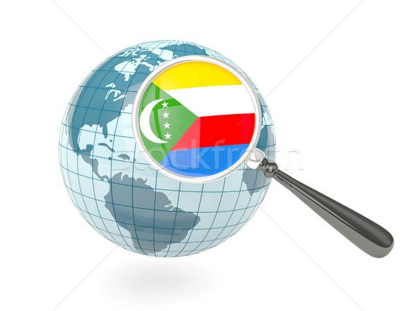 Magnified flag of comoros with blue globe Stock photo © MikhailMishchenko