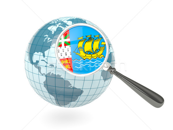 Magnified flag of saint pierre and miquelon with blue globe Stock photo © MikhailMishchenko