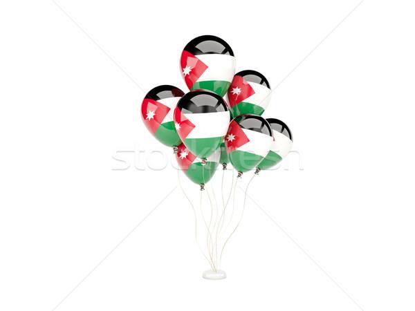 Pływające balony banderą Jordania odizolowany biały Zdjęcia stock © MikhailMishchenko