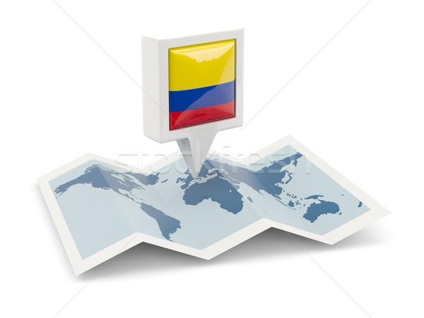 Vierkante pin vlag Colombia kaart reizen Stockfoto © MikhailMishchenko