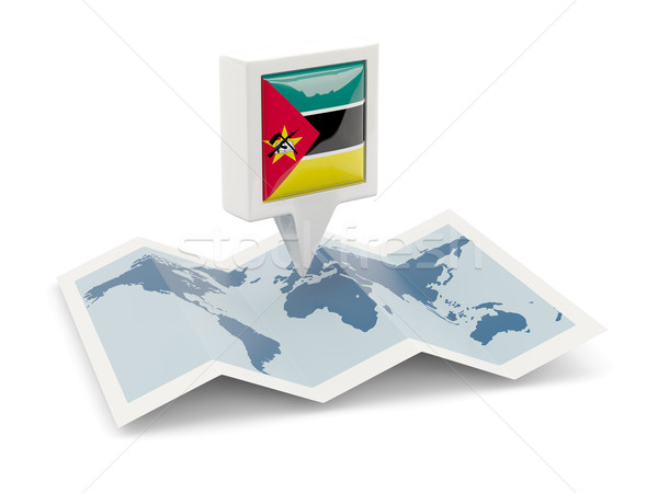 Praça pin bandeira Moçambique mapa viajar Foto stock © MikhailMishchenko