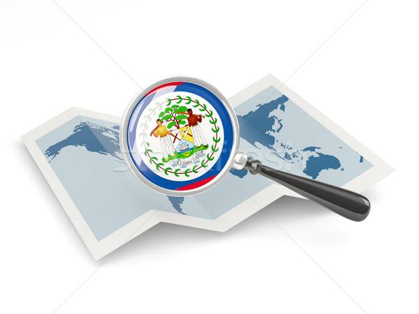拡大された フラグ ベリーズ 地図 旅行 ストックフォト © MikhailMishchenko
