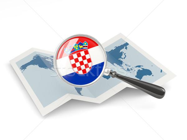 Bayrak Hırvatistan harita beyaz Stok fotoğraf © MikhailMishchenko