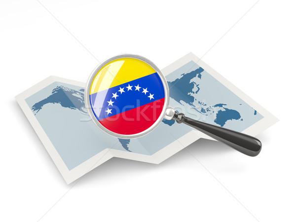Nagyított zászló Venezuela térkép izolált fehér Stock fotó © MikhailMishchenko