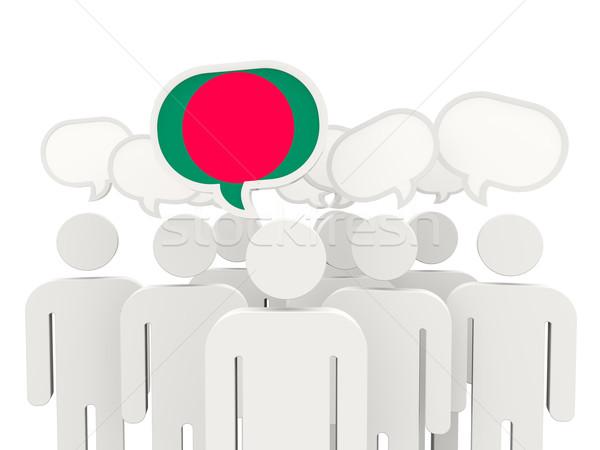 Emberek zászló Banglades izolált fehér megbeszélés Stock fotó © MikhailMishchenko
