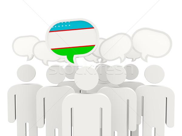 люди флаг Узбекистан изолированный белый заседание Сток-фото © MikhailMishchenko