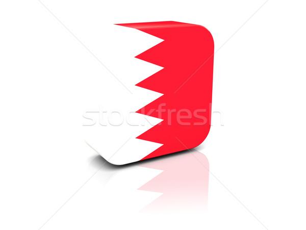 Praça ícone bandeira Bahrein reflexão branco Foto stock © MikhailMishchenko