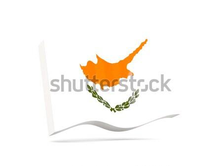 Сток-фото: квадратный · икона · флаг · Кипр · отражение · белый