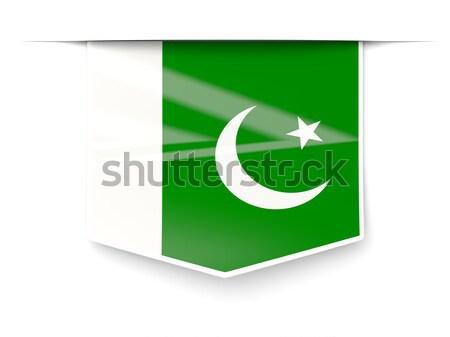 Vierkante icon vlag Pakistan metaal frame Stockfoto © MikhailMishchenko