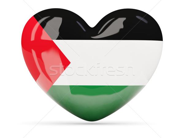 Heart shaped icon with flag of palestinian territory Stock photo © MikhailMishchenko