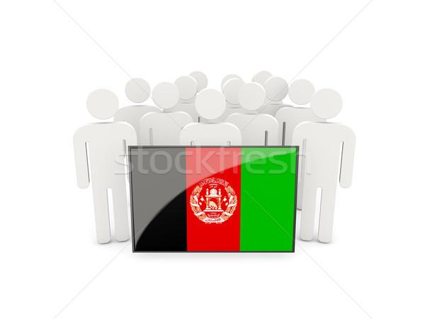 Menschen Flagge Afghanistan isoliert weiß Menge Stock foto © MikhailMishchenko
