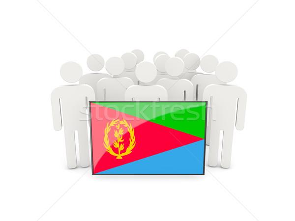 Ludzi banderą Erytrea odizolowany biały tłum Zdjęcia stock © MikhailMishchenko
