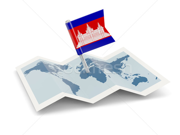 Mapa bandeira Camboja isolado branco Foto stock © MikhailMishchenko