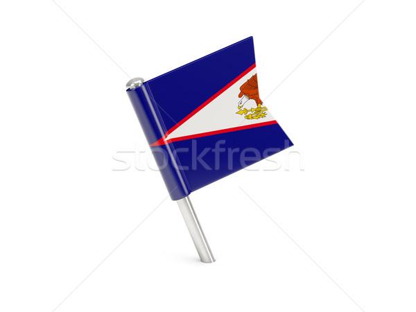 Bandeira pin Samoa Americana isolado branco viajar Foto stock © MikhailMishchenko