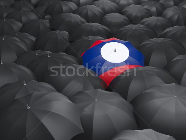 傘 フラグ ラオス 黒 傘 旅行 ストックフォト © MikhailMishchenko