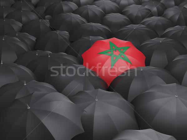Esernyő zászló Marokkó fekete esernyők eső Stock fotó © MikhailMishchenko