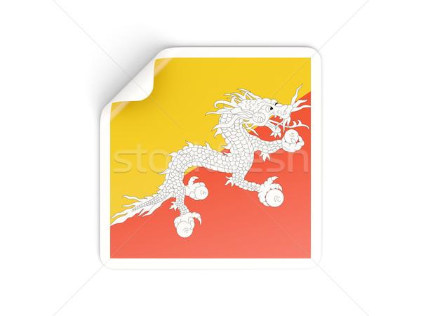 Vierkante sticker vlag Bhutan geïsoleerd witte Stockfoto © MikhailMishchenko