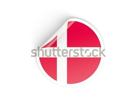 Etiket bayrak Danimarka yalıtılmış beyaz seyahat Stok fotoğraf © MikhailMishchenko