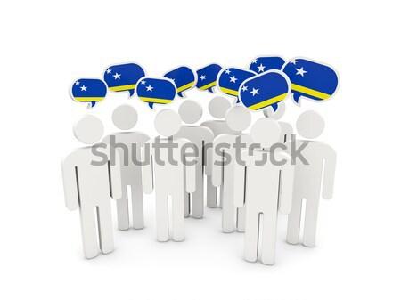 Pessoas bandeira Kosovo isolado branco multidão Foto stock © MikhailMishchenko