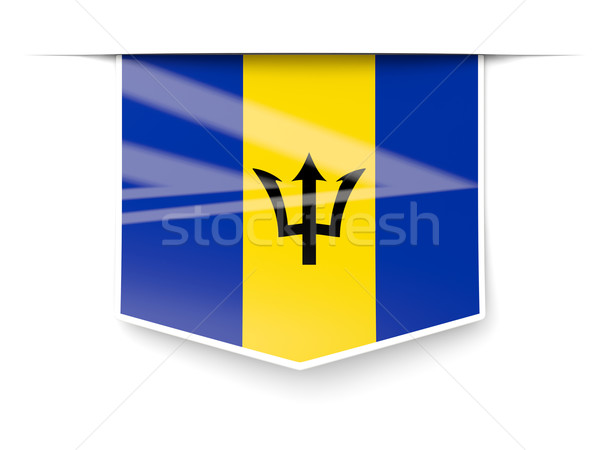 Square label with flag of barbados Stock photo © MikhailMishchenko