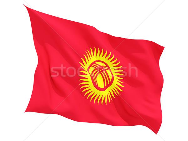 Bayrak Kırgızistan yalıtılmış beyaz Stok fotoğraf © MikhailMishchenko