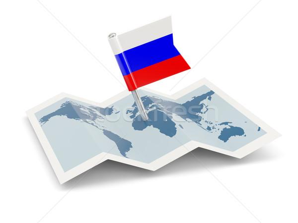 Mapa bandera Rusia aislado blanco viaje Foto stock © MikhailMishchenko