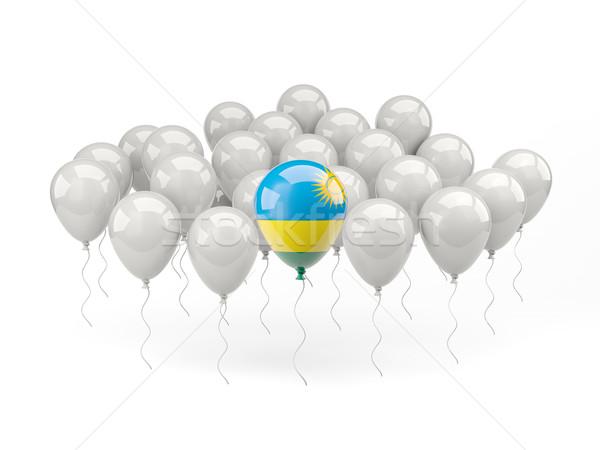 воздуха шаров флаг Руанда изолированный белый Сток-фото © MikhailMishchenko