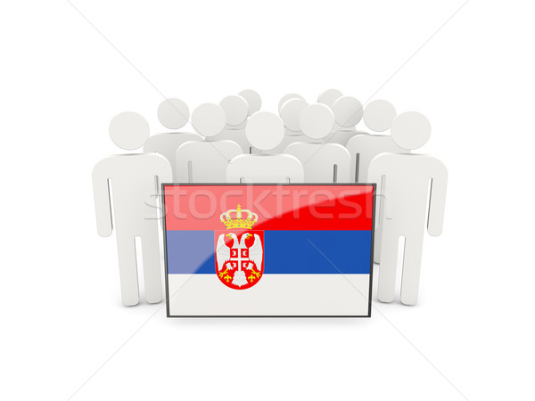 Personas bandera Serbia aislado blanco multitud Foto stock © MikhailMishchenko