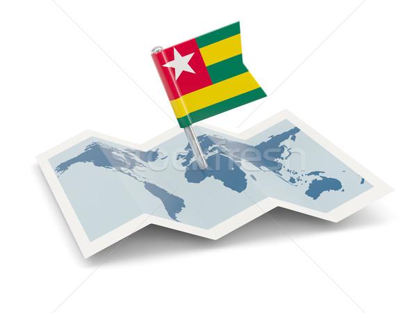 Pokaż banderą Togo odizolowany biały Zdjęcia stock © MikhailMishchenko