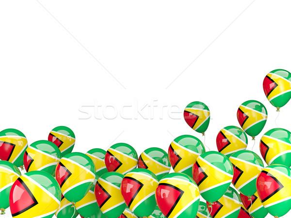 Сток-фото: Flying · шаров · флаг · Гайана · изолированный · белый
