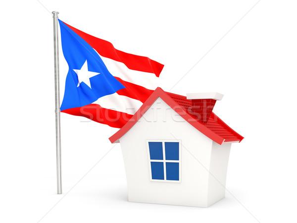 Huis vlag Puerto Rico geïsoleerd witte home Stockfoto © MikhailMishchenko
