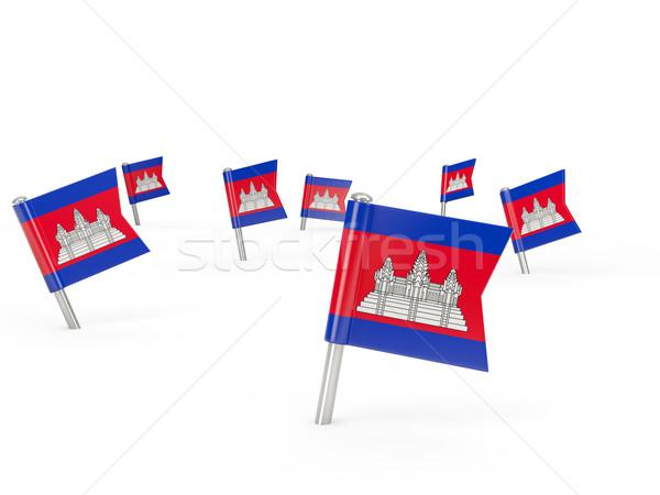 Tér zászló Kambodzsa izolált fehér vidék Stock fotó © MikhailMishchenko