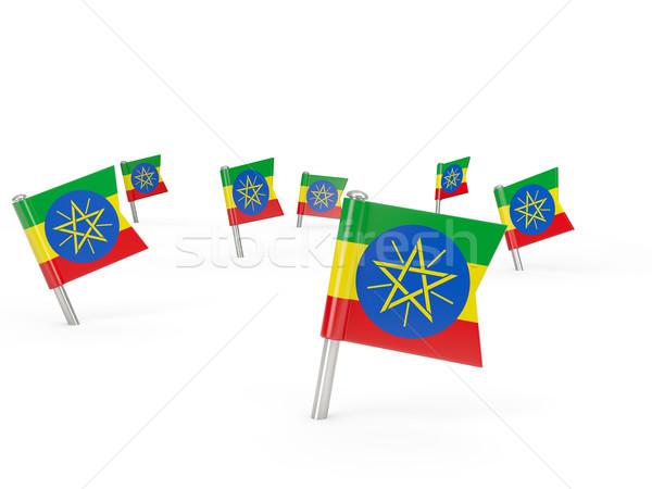 Placu banderą Etiopia odizolowany biały kraju Zdjęcia stock © MikhailMishchenko