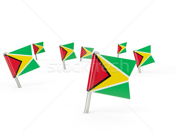 Vierkante vlag Guyana geïsoleerd witte land Stockfoto © MikhailMishchenko