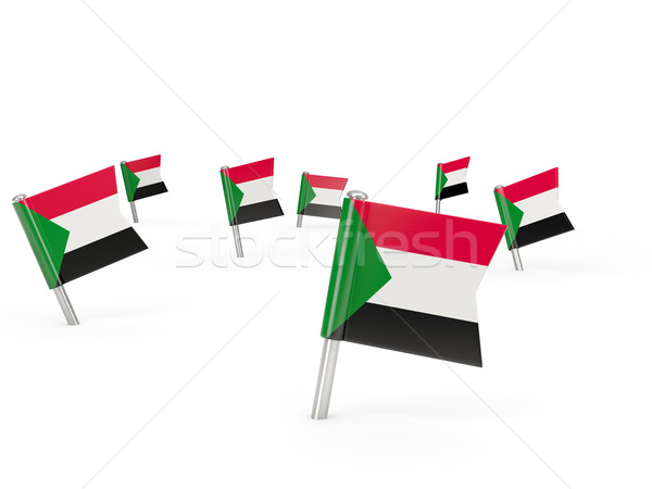 Square pins with flag of sudan Stock photo © MikhailMishchenko