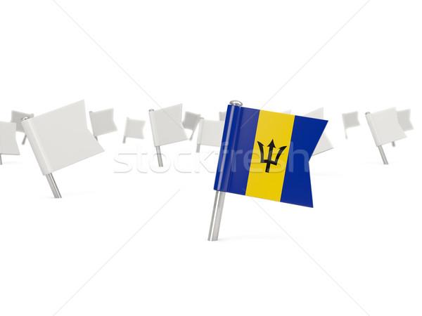 Square pin with flag of barbados Stock photo © MikhailMishchenko