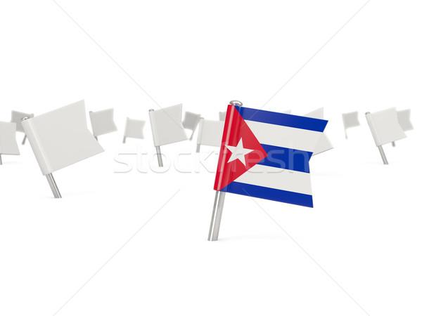 квадратный Pin флаг Куба изолированный белый Сток-фото © MikhailMishchenko