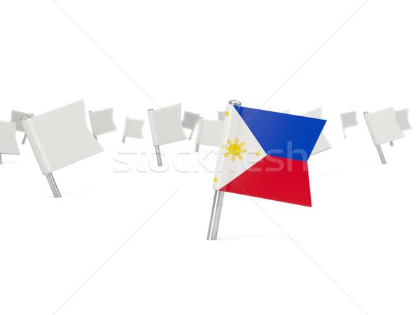 Kare pin bayrak Filipinler yalıtılmış beyaz Stok fotoğraf © MikhailMishchenko