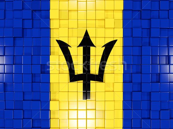 Praça bandeira Barbados ilustração 3d mosaico Foto stock © MikhailMishchenko