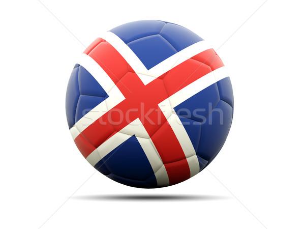 Voetbal vlag IJsland 3d illustration voetbal sport Stockfoto © MikhailMishchenko