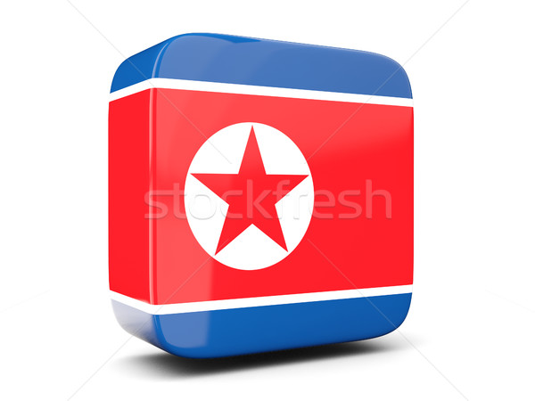 Square icon with flag of korea north square. 3D illustration Stock photo © MikhailMishchenko