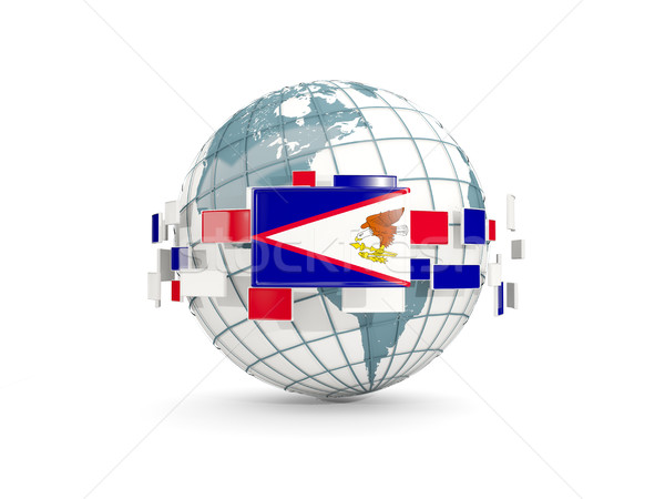 Wereldbol vlag amerikaanse geïsoleerd witte 3d illustration Stockfoto © MikhailMishchenko