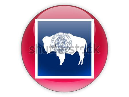 Flag of wyoming, US state square icon Stock photo © MikhailMishchenko