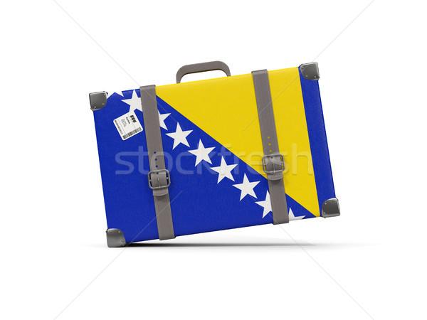Equipaje bandera Bosnia Herzegovina maleta aislado blanco Foto stock © MikhailMishchenko