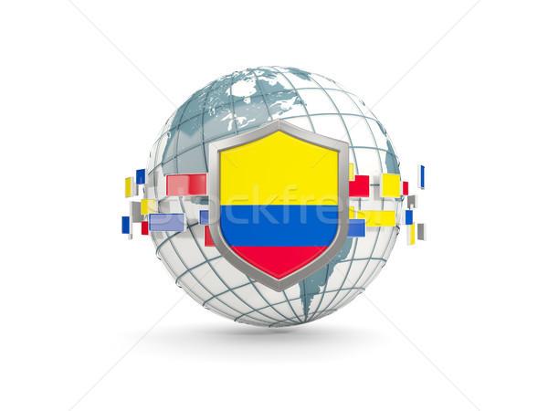 Földgömb pajzs zászló Colombia izolált fehér Stock fotó © MikhailMishchenko