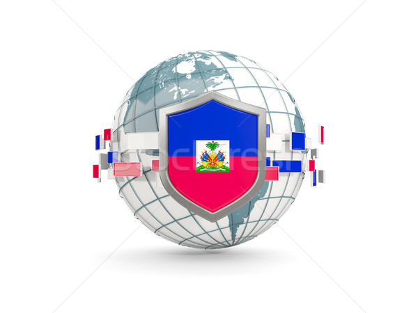世界中 シールド フラグ ハイチ 孤立した 白 ストックフォト © MikhailMishchenko