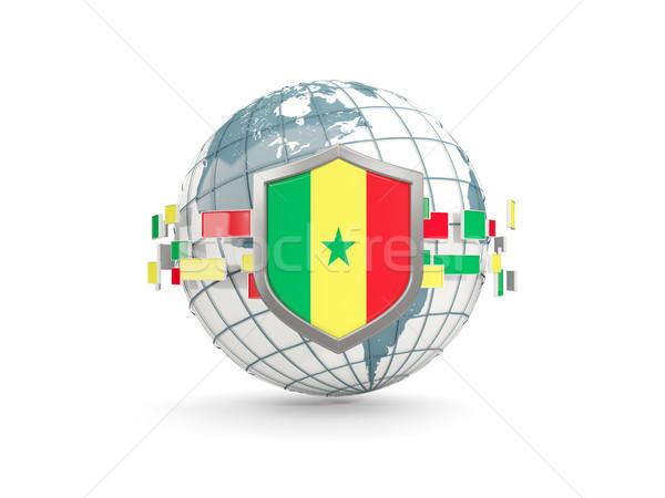 Földgömb pajzs zászló Szenegál izolált fehér Stock fotó © MikhailMishchenko